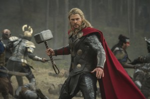"Thor (Chris Hemsworth) in battle stance in ""Marvel's Thor: The Dark World."" © 2013 MVLFFLLC.  TM & © 2013 Marvel.  CR: Jay Maidment"