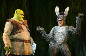 "Pictured (l-r): Brian d'Arcy James (Shrek) and Daniel Breaker (Donkey) in ""Shrek: The Musical."" ©Dreamworks Theatricals. CR: Joan Marcus."