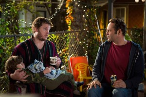 "David Wozniak (Vince Vaughn, right) seeks advice from his friend and attorney, Brett (Chris Pratt) when he discovers that his anonymous donations to a fertility clinic twenty years earlier resulted in 533 children in DreamWorks Pictures' ""Delivery Man"".  ©DreamWorks II Distribution Co., LLC.  CR: Jessica Miglio."