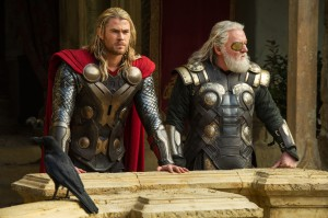"L to R: Thor (Chris Hemsworth) and Odin (Anthony Hopkins) in ""Marvel's Thor: The Dark World."" © 2013 MVLFFLLC. TM & © 2013 Marvel. All Rights Reserved."
