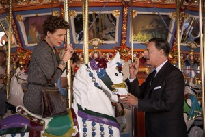 "P.L. Travers (Emma Thompson), left; Walt Disney (Tom Hanks), right, in Disney's ""Saving Mr. Banks."" ©Disney Enterprises. CR: Francois Duhamel."