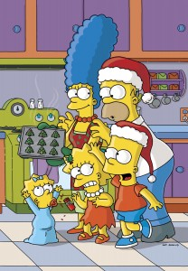 "L-R: Maggie, Marge, Lisa Homer and Bart Simpson celebrate Christmas in ""THE SIMPSONS."" ©Fox."