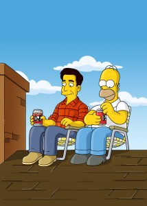 "When new pal Ray Magini (guest voice Ray Romano) and Homer fix the Simpson roof on the ""Don't Fear The Roofer"" episode of ""THE SIMPSONS."" ©FOX BROADCASTING"