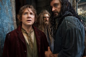 "(l-r) Martin Freeman stars as Bilbo Baggins and Richard Armitage as Thorin Oakenshield in ""The Hobbit: The Desolation of Smaug."" ©Warner Bros. Entertainment / MGM. CR: Mark Pokorny."