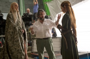 "(l-r) Lee Pace as Thranduil, Director Peter Jackson and Evangeline Lilly as Tauriel on the set of ""The Hobbit: The Desolation of Smaug."" ©Warner Bros. Entertainment / MGM. CR: Mark Pokorny."