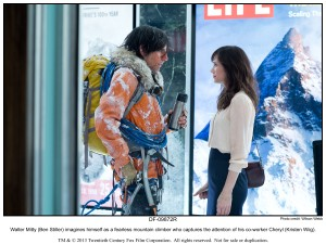 Walter Mitty (Ben Stiller) imagines himself as a fearless mountain climber who captures the attention of his co-worker Cheryl (Kristen Wiig) in THE SECRET LIFE OF WALTER MITTY. ©20th Century Fox. CR: Wilson Webb.