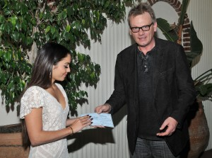 Vanessa Hudgens accepting on behalf of UNICEF Philippines, the $100,000 donation check by the President of the Hollywood Foreign Press Association (HFPA) Theo Kingma to help in the Typhoon Haiyan relief efforts held at the Hollywood Foreign Press Association in West Hollywood, CA. The event took place on Thursday, December 12, 2013. Photo by Sthanlee B. Mirador_GMA | Pacific Rim Photo Press.