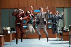 (Left to right) David Koechner is Champ Kind, Paul Rudd is Brian Fantana, Will Ferrell is Ron Burgundy and Steve Carell is Brick Tamland in ANCHORMAN 2: THE LEGEND CONTINUES. ©Paramount Pictures. CR: Gemma LaMana.