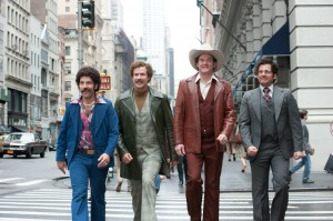 (Left to right) Paul Rudd is Brian Fantana, Will Ferrell is Ron Burgundy, David Koechner is Champ Kind and Steve Carell is Brick Tamland in ANCHORMAN 2: THE LEGEND CONTINUES. ©Paramount Pictures. CR: Gemma LaMana.