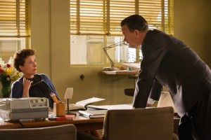 "Walt Disney (Tom Hanks) confronts P.L. Travers (Emma Thompson), the prickly author of ""Mary Poppins,""  as he tries to secure the rights to her book and fulfill a promise he made to his daughters in Disney's ""Saving Mr. Banks"". ©Disney Enterprises. CR: Francois Duhamel."