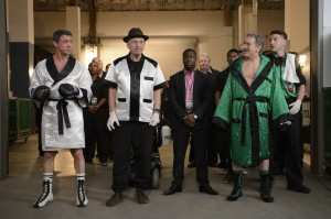 "(l-r) Sylvester Stallone as Henry ""Razor"" Sharp, Alan Arkin as Louis ""Lightning"" Conlon, Kevin Hart as Dante Slate, Jr., Robert De Niro as Billy ""The Kid"" McDonnen and Jon Bernthal as BJ in GRUDGE MATCH. ©Warner Bros. Entertainment. CR: Ben Rothstein."