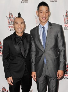 "(l-r) Director Evan Jackson Leong with Jeremy Lin at special screening of ""Linsanity"" held at the TCL Chinese Theatres in Hollywood, CA. ©Front Row Features/Pacific Rim Photo Press."