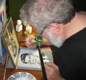 "Tim Jenison makes his first painting using his invention, the ""comparator mirror"" and a photograph of his father-in-law in TIM'S VERMEER. ©High Deft Pictures. CR: Luren Jenison."