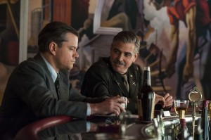 Matt Damon (left) and George Clooney in Columbia Pictures' THE MONUMENTS MEN. ©Columbia Pictures. CR Claudette Barius.