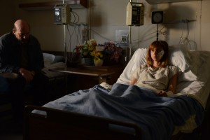 Zoe Kazan lays in a hospital bed in THE PRETY ONE. ©Provenance Pictures.