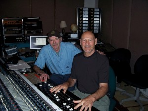 Mike PInder (right) mixing his music. FRF Photo.