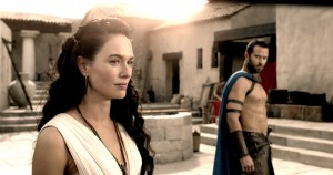 (l-r) LENA HEADEY as Queen Gorgo and SULLIVAN STAPLETON as Themistokles in 300: RISE OF AN EMPIRE.  ©Warner Bros. Entertainment/Legendary Pictures.
