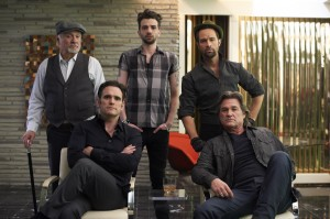 (starting from back left) Kenneth Welsh, Jay Baruchel, Chris Diamantopoulos, Matt Dillon, and Kurt Russell in THE ART OF THE STEAL. ©Radius/TWC