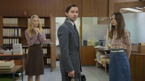 Felicity Gilbert, Shia LaBeouf and Stacy Martin in NYMPHOMANIAC: VOLUME I. ©Magnolia Pictures. CR: Christian Geisnaes