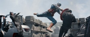 "Captain America/Steve Rogers (Chris Evans) in a fight scene of ""Marvel's Captain America: The Winter Soldier."" ©Marvel."