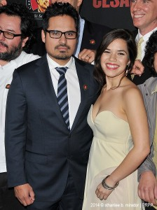 "Michael Pena and America Ferrera pose for the photographers during the premiere of ""Cesar Chavez"" held at the TCL Chinese Theatre in Hollywood CA. ©Front Row Features/Sthanlee B. Mirador."