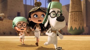 Mr. Peabody (Ty Burell), Penny (Ariel Winter) and Sherman (Max Charles) face unique challenges as they race through history in MR. PEABODY & SHERMAN. ©Dreamworks Animations LLC / Ward Productions.
