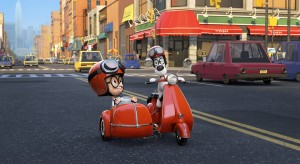 "Mr. Peabody (Ty Burell) and his boy Sherman (Max Charles) travel in style, even when they're not journeying through time in ""MR. PEABOYD & SHERMAN."" ©Dreamworks Animations LLC./Ward Productions."