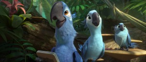 Blu (Jesse Eisenberg), Jewel (Anne Hathaway) and their music-loving daughter, Carla (Rachel Crow) enjoy the exotic sounds of the jungle in RIO 2. ©20th Century Fox.
