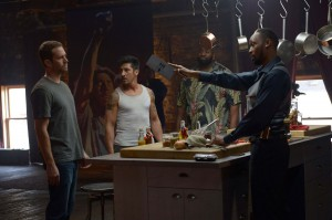 (Left to right.) Paul Walker, David Belle, Kwasi Songui and RZA star in Relativity Media's BRICK MANSIONS. © 2013 EUROPACORP/TRANSFILM INTERNATIONAL INC. CR: Philippe Bosse'