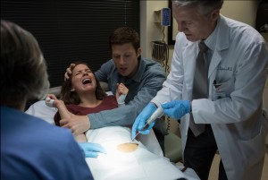 "A routine medical procedure becomes a nightmare for Sam (Allison Miller) and her husband Zach (Zach Gilford) in ""Devil's Due."" ©20th Cnetury Fox. CR: Michele Short."