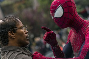 "Jamie Foxx and Andrew Garfield as Spider-Man star in Columbia Pictures' ""The Amazing Spider-Man."" ©Columbia PIctures Industries. CR: Niko Tavernise."