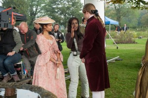 Gugu Mbatha-Raw, Amma Asante, and James Norton on the set of BELLE. ©Fox Searchlight. CR: David Appleby.