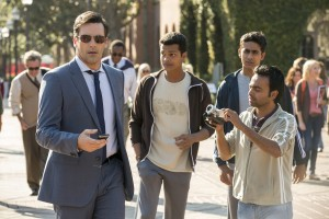 "(l-r) jon Hamm, Madhur Mittal, Suraj Sharma and Pitobash star in ""Million Dollar Arm."" ©Disney Enterprises. CR: John Johnson."