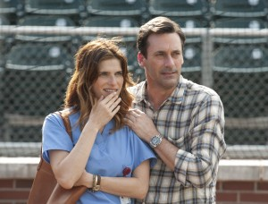 "Jon Hamm as JB Bernstein and Lake Bell as Brenda, JB's neighbor in ""Million Dollar Arm."" ©Disney Enterprises. CR: Ron Phillips."