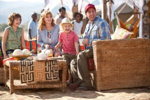(l-r) Emma Fuhrmannn as Eson, Bella Thorne as Hilary, Alyvia Alynlinc as Lou and Adam Sandler as Jim in BLENDED. ©Warner Bros. Entertainment. CR: David Bloomer.
