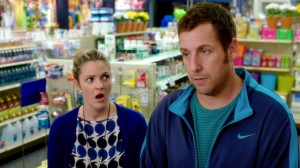 (l-r) Drew Barrymore as Lauren and Adam Sandler as Jim in BLENDED. ©Warner Bros. Entertainment.