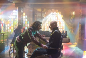 "(l-r) Young Charles Xavier (James McAvoy) meets his older self (Patrick Stewart) in the future in the film ""X-Men: Days of Future Past."" ©Marvel/20th Century Fox. CR: Alan Markfield."