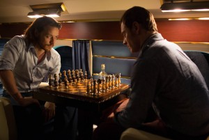 "(l-r) Professor Charles Xavier (James McAvoy) and Erik Lehnsherr (Michael Fassbender) play a game of chess in ""X-Men: Days of Future Past."" ©Marvel/20th Century Fox. CR: Alan Markfield."