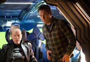 "Bryan Singer (r) directs Patrick Stewart, on the set of ""X-Men: Days of Future Past."" ©20th Century Fox. CR: Alan Markfield."