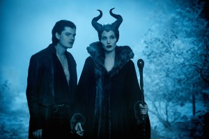 "(l-r) Diaval (Sam Riley) and Maleficent (Angelina Jolie) in ""Maleficent."" ©Disney Enterprises. CR: Frank Connor."