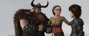 "Hiccup (Jay Baruchel,right) learns a shocking truth from his father Stoick (Gerard Butler) and mother Valka (Cate Blanchett) in ""How To Train Your Dragon 2.&quot ©Dreamworks Animation."