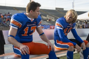 "Jenko (TATUM) and Zook (WYATT RUSSELL) out on the field in ""22 Jump Street."" ©Columbia PIctures. CR: Glen Wilson."