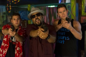 "Schmidt (HILL) and Jenko (TATUM) with Dickson (ICE CUBE) confront the bad guys at Gringo Pendejo's in ""22 Jump Street."" ©Columbia Pictures."