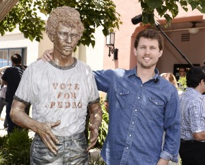 Actor Jon Heder attends the Napoleon Dynamite statue dedication and cast panel discussion on the 20th Century Fox Studios lot in Los Angeles on Monday, June 9, 2014. Napoleon Dynamite: 10 Sweet Years Edition is available now on Blu-ray and DVD.  (Photo by Dan Steinberg/Invision for Twentieth Century Fox Home Entertainment/AP Images)