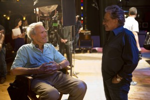 "(l-r) Director/producer CLINT EASTWOOD with executive producer FRANKIE VALLI on the set of ""JERSEY BOYS."" ©Warner Bros. Entertainment. CR: Keith Bernstein."