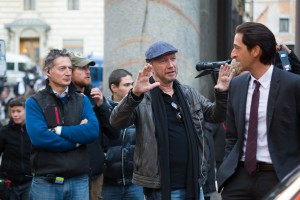 (l-r) Director Paul Haggis and Adrien Brody on the set of THIRD PERSON. ©Sony Pictures Classics. CR: Maria Marin.