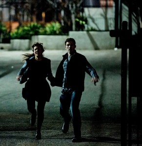 "Liz (KIELE SANCHEZ) and husband Shane (ZACH GILFORD) try to survive the night in ""The Purge: Anarchy."" ©Universal Pictures. CR: Justin Lubin."