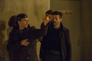 "(L to R) Writer/director JAMES DEMONACO and FRANK GRILLO as Leo on the set of ""The Purge: Anarchy."" ©Universal Pictures. CR: Justin Lubin."