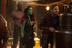 "(l-r) Drax the Destroyer (Dave Bautista) , Gamora (Zoe Saldana) & Peter Quill/Star-Lord (Chris Pratt) star in ""Marvel's Guardians Of The Galaxy."" ©Marvel. CR Jay Maidment."