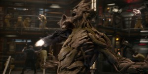"L to R: Rocket Racoon (voiced by Bradley Cooper) & Groot (voiced by Vin Diesel) in ""Marvel's Guardians Of The Galaxy."" ©Marvel. Ph: Film Frame ©Marvel 2014"